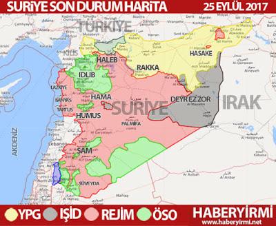 Suriye son durum harita 25 Eylül 2017
