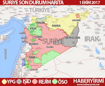 Suriye son durum haritası 1 Ekim 2017