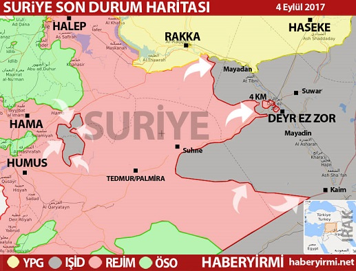 Suriye son durum harita 4 Eylül 2017