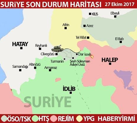 İdlib son durum harita 27 Ekim 2017