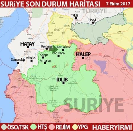 İdlib haritası-Türkiye İdlib haritası 7 Ekim 2017