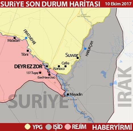Deyr ez Zor son durum harita 10 Ekim 2017