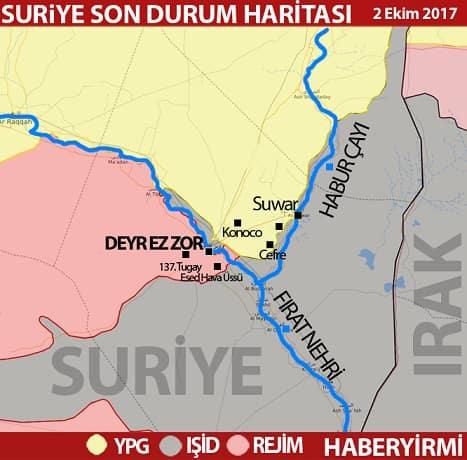 Deyr ez Zor son durum harita 4 Ekim 2017