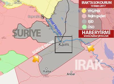 Irak son durum harita: Anbar-Kaim bölgesi - 10 Ekim 2017