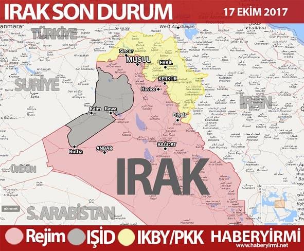 Irak son durum harita 17 Ekim 2017