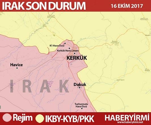 Kerkük son durum haritası 16 Ekim 2017