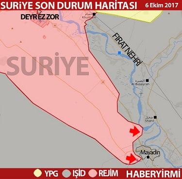 Mayadin son durum harita 6 Ekim 2017