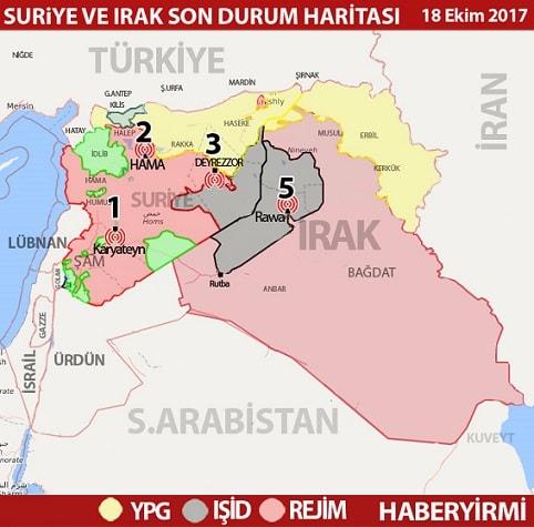 Suriye ve Irak son durum haritası 19 Ekim 2017 HABERYİRMİ