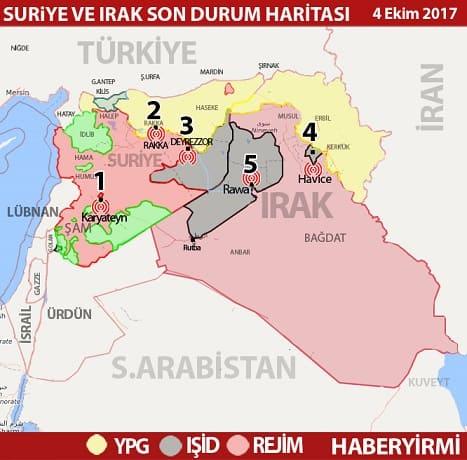 Suriye ve Irak'ta son durum harita (4 Ekim 2017)