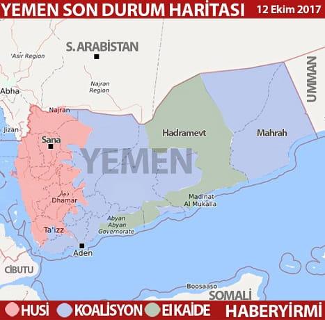 Yemen son durum harita 12 Ekim 2017