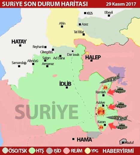 Suriye İdlib son durum harita: Rejim ordusunun ele geçirdiği alanlar: 29 Kasım 2017