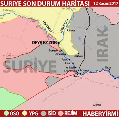 Irak ve Suriye IŞİD son durum haritası 12 Kasım 2017