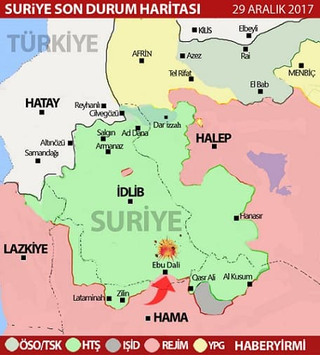 İdlib son durum harita 29 Aralık 2017