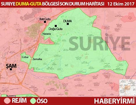 Harita: Suriye başkent Şam. Duma ilçesi ve Batı ve Doğu Guta bölgeleri