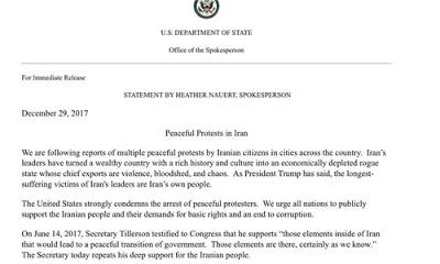 ABD Dışişleri Bakanlığı Sözcüsü Heather Nauert, İran'daki yönetim karşıtı gösterilere ilişkin yazılı bir açıklama yaptı.
