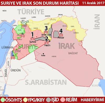 Irak ve Suriye'de son durum haritası 11 Aralık 2017 / HABERYİRMİ