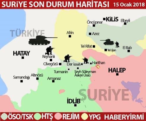 Afrin son durum harita 15 ocak 2018