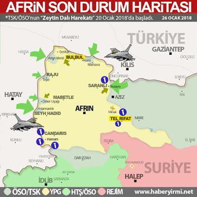Afrin 26 Ocak 2018 harita zeytin dali, afrin operasyonu