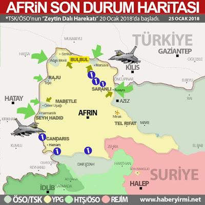 Afrin son-durum harita 25 ocak 2018