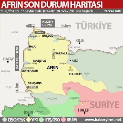 Afrin son durum haritası 24 Ocak 2018 YPG'nin