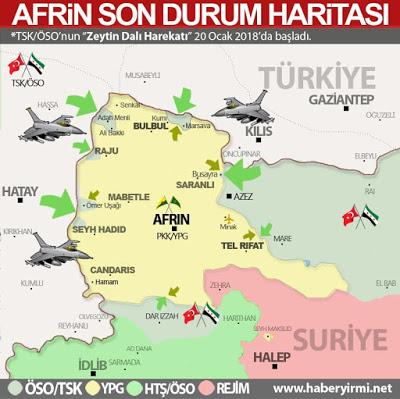 Afrin son durum harita 28 Ocak 2018.
