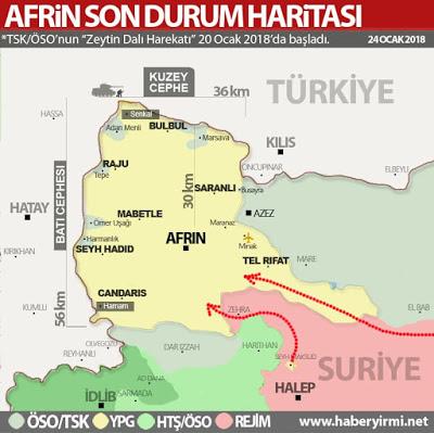 YPG'nin takviye aldığı iki güzergah. (Kırmızı oklar) Afrin son durum harita 25 Ocak 2018. www.haberyirmi.net