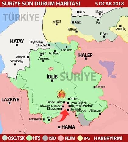 İdlib son durum harita 5 Ocak 2017