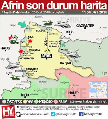 Afrin Son durum harita. 11-Şubat 2018