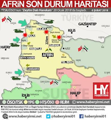 Zeytin Dalı Harekatı - Afrin son durum haritası: 6 Şubat 2018