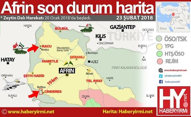 Afrin son durum harita. 23 Şubat 2018