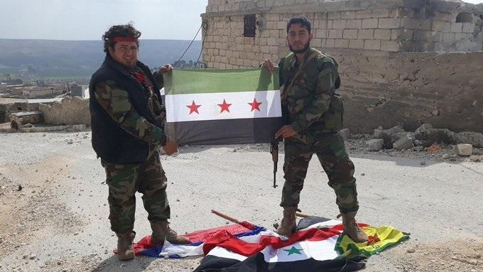 Afrin son durum YPG-Rejim-Rus bayrakları birarada