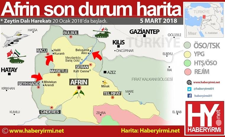 Afrin son durum harita 5 Mart 2018