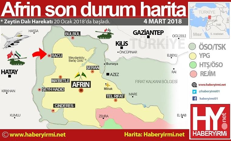 Afrin son durum haritası. 4 Mart 2018.