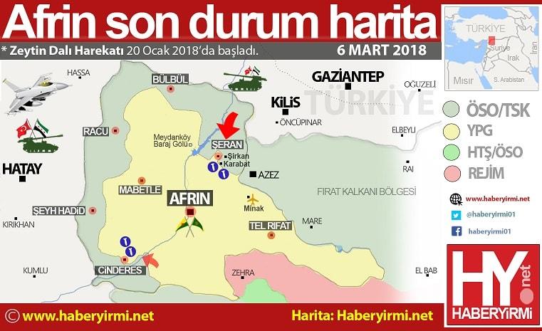 Afrin son durum harita (6 Mart 2018)