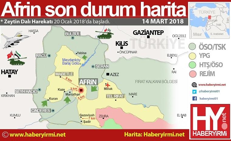 Afrin son durum harita 14 Mart 2018