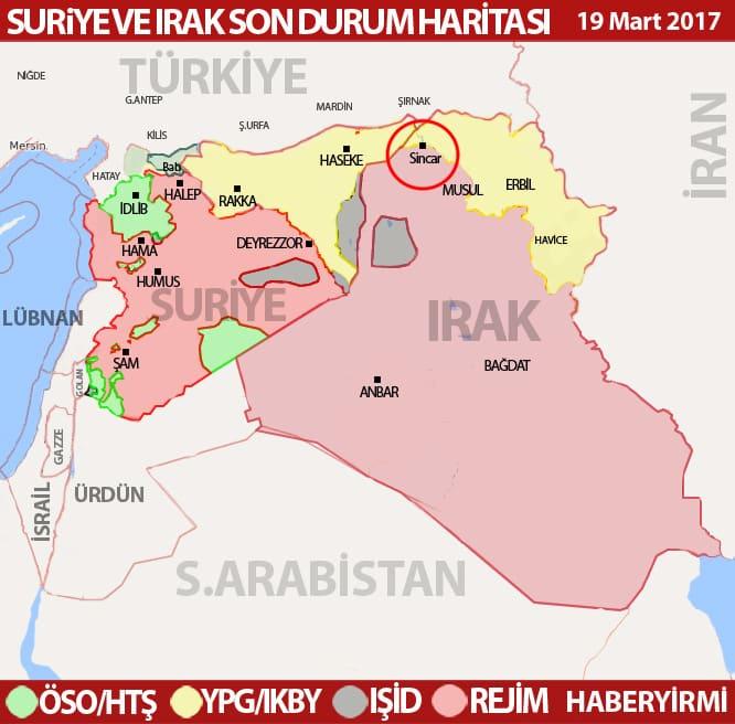 Sincar harita son durum 19 Mart 2018