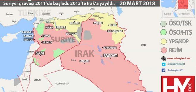 Suriye ve Irak son durum harita 2018